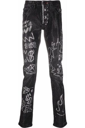 Philipp Plein Men Skinny - Super Straight Cut stone-embellished jeans