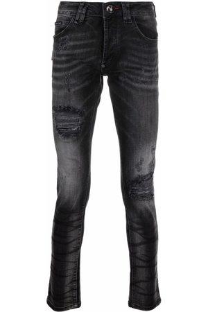 Philipp Plein Men Skinny - Super Straight stonewash distressed jeans