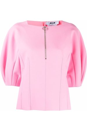 Msgm Puff-sleeved zip-up blouse