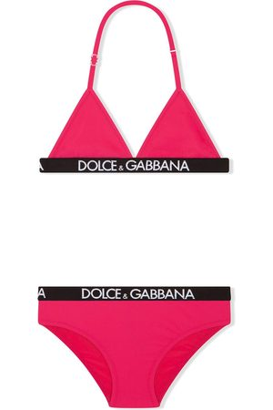 Dolce & Gabbana Girls Bikinis - Logo-elastic triangle bikini