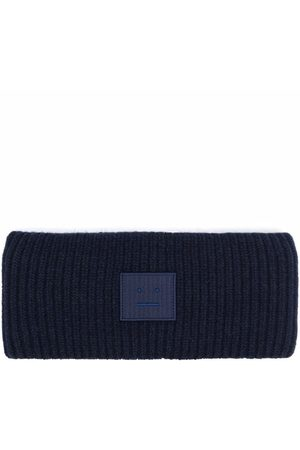 Acne Studios Ribbed-knit logo patch headband