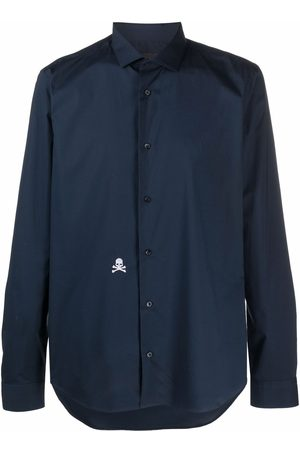 Philipp Plein Sugar Daddy skull-embroidered long-sleeve shirt