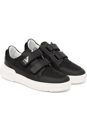 Emporio Armani Leather-trim touch-strap sneakers