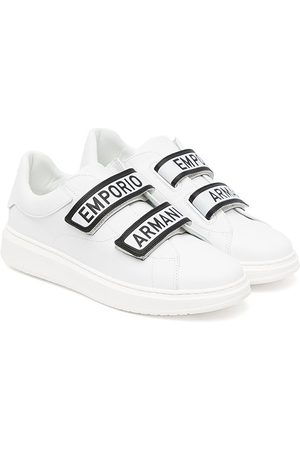 Emporio Armani Touch-strap leather sneakers