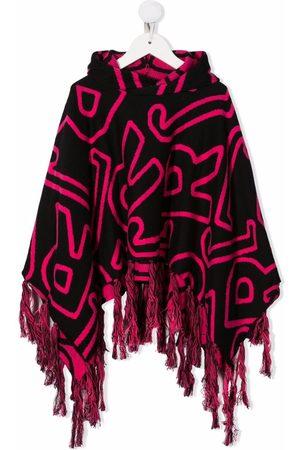 John Richmond Junior Girls Hoodies - Monogram-patterned cape hoodie