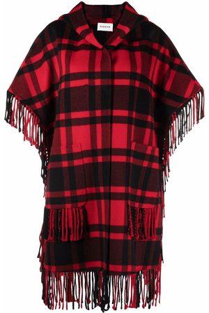 P.a.r.o.s.h. Women Ponchos - Plaid-check fringed cape
