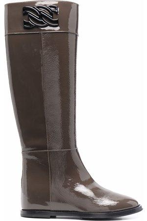 Casadei Women Knee High Boots - Chain-detail knee length boots