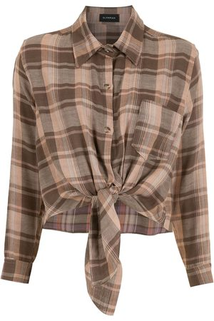Olympiah Tied check blouse
