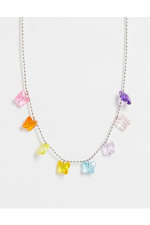 ASOS Women Necklaces - Necklace with plastic butterfly charms in tone