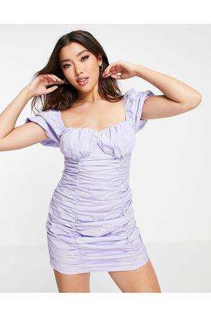 Public Desire Women Casual Dresses - Puff sleeve ruched cotton poplin mini dress in lilac