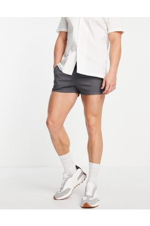 ASOS Men Shorts - Chino shorter shorts in slim fit with elasticated waist in charcoal