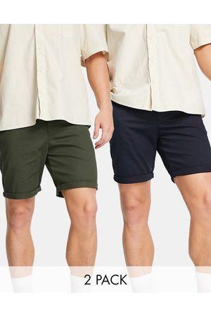 ASOS Men Shorts - 2 pack slim shorts in dark khaki and navy save-Multi