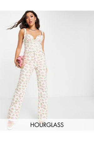 ASOS Women Sets - Hourglass co-ord denim straight leg jean in ditsy print-Multi
