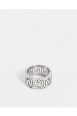 ASOS Men Rings - Stainless steel band ring with greek wave cut out design in tone