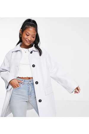 ASOS Women Leather Jackets - Petite oversized faux leather shacket light blue