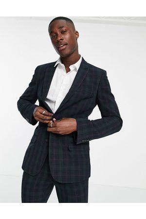 ASOS Super skinny suit jacket in blackwatch tartan-Navy