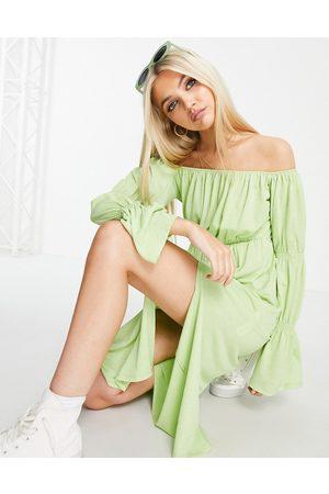 ASOS Bardot waisted midi dress in lime