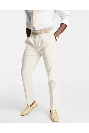 ASOS Wedding linen slim suit trousers with wide stripe in stone-Neutral