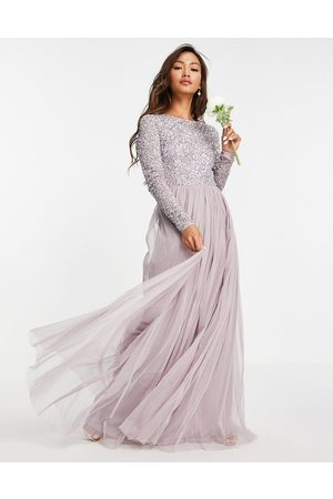 Maya Bridesmaid long sleeve maxi tulle dress with tonal delicate sequins in lilac
