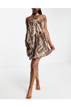 ASOS Women Printed Dresses - Swing beach mini dress in blurred animal print-Multi