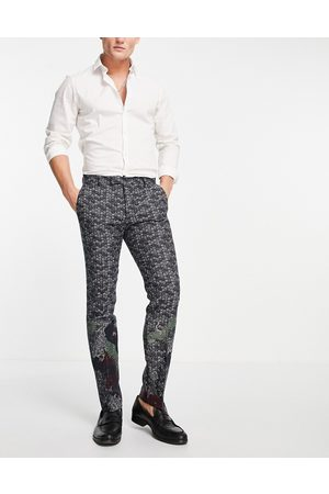 Twisted Tailor Suit trousers in navy jacquard with crane and floral border detail