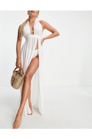 ASOS Tie front plunge maxi crinkle beach dress with high split in