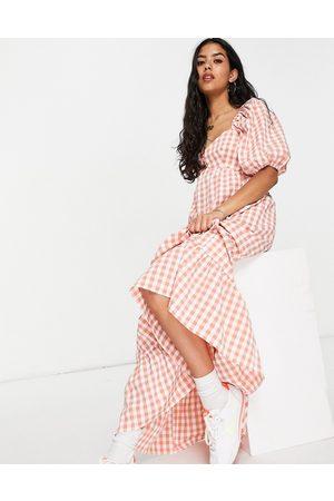 ASOS Women Casual Dresses - Sweetheart neck maxi dress with pephem in gingham-Multi