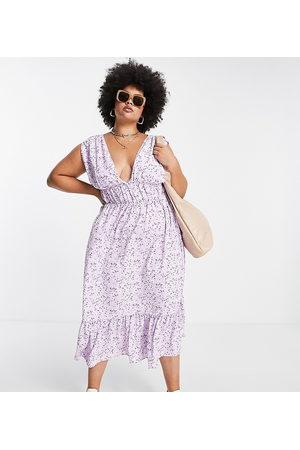 ASOS ASOS DESIGN Curve ruched waist midi tea dress in floral print-Multi