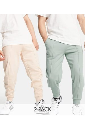 ASOS Tapered joggers 2 pack with pin tuck in green & beige-Multi