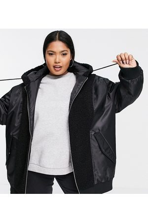 ASOS ASOS DESIGN Curve fleece patched bomber in