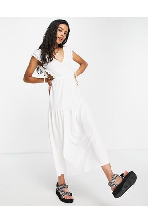 ASOS Women Casual Dresses - Lace trim midi dress with tie sides in cream
