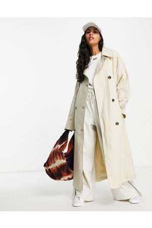 ASOS Women Trench Coats - Slouchy trench coat in washed stone