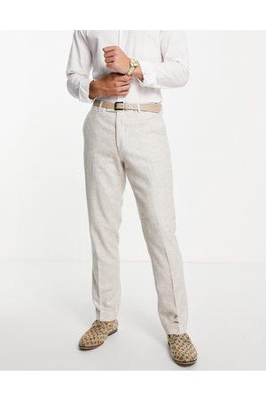 Harry Brown Wedding wool blend slim fit tweed suit trouser-Neutral