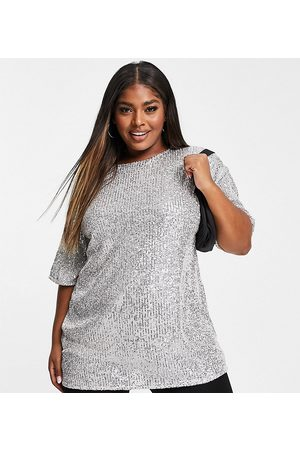 ASOS Curve oversized sequin t-shirt in