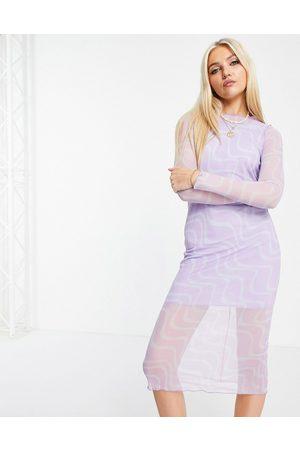 ASOS Mesh long sleeve midi dress in swirl print