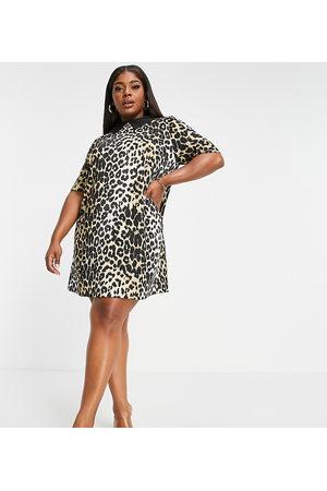 ASOS Women Printed Dresses - ASOS DESIGN Curve mini dress in leopard print satin with contrast collar-Multi