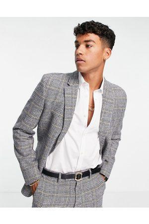 ASOS Men Blazers - Slim wool mix suit jacket in prince of wales check