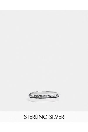 ASOS Men Rings - Sterling band ring with textured design in burnished