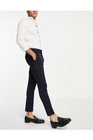 ASOS Men Skinny Pants - Super skinny suit trousers in blackwatch tartan-Navy