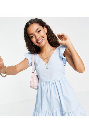 Miss Selfridge Women Casual Dresses - Poplin frill sleeve mini dress in baby