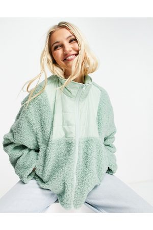 ASOS Women Fleece Jackets - Fleece jacket with contrast panel in mint
