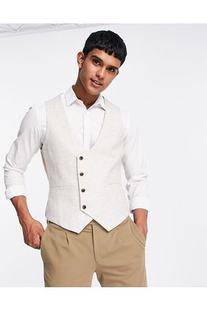 Harry Brown Men Waistcoats - Wedding wool blend slim fit single breasted waistcoat-Neutral