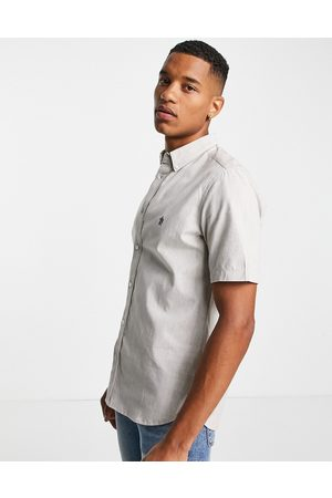 French Connection Men Short sleeves - Short sleeve oxford shirt in stone-Neutral