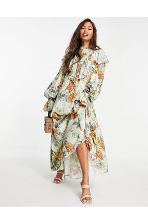 ASOS Women Casual Dresses - Oversized floral maxi dress with ruffle-Multi