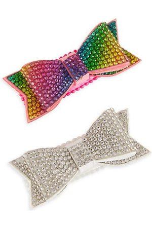 Bari Lynn Girls Hair Accessories - Glass Crystal Bow Hair Clip Set
