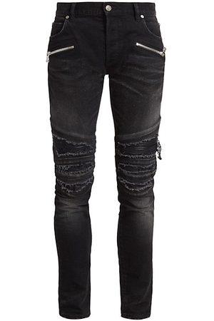 Balmain Men Skinny - Distressed Moto Skinny Jeans