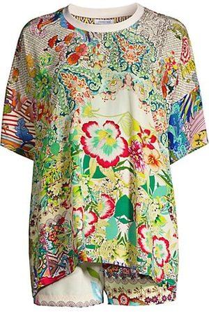 JOHNNY WAS Annalyn Printed Silk 2-Piece Shirt & Shorts Set