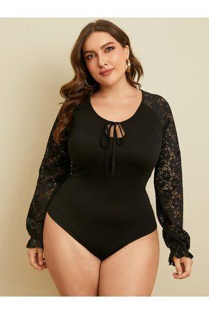 YOINS Plus Size Tie-up Design Lace Patchwork Design Long Sleeves Bodysuit
