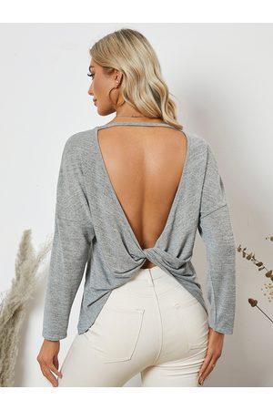 YOINS Women Long Sleeve - Twist Design Backless Long Sleeves Tee