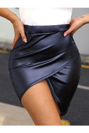 YOINS Women Leather Skirts - Criss-cross Asymmetric Faux Leather Skirt